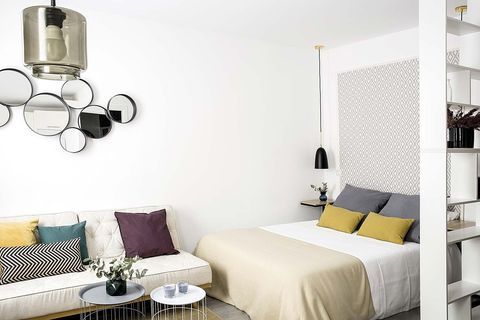 Room, White, Furniture, Bedroom, Wall, Interior design, Wallpaper, Yellow, Bed, Ceiling,