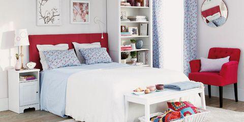 Furniture, Bed, Bedroom, Room, White, Red, Bed frame, Interior design, Bed sheet, studio couch,