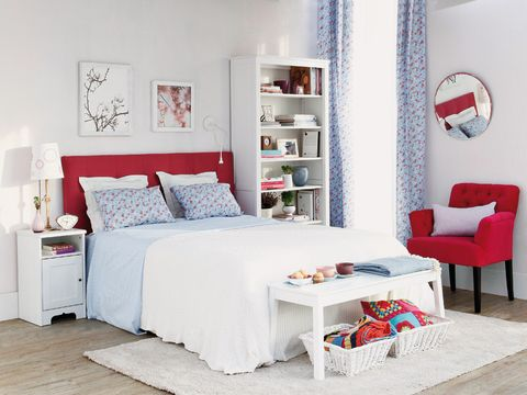 Furniture, Bed, Bedroom, Room, White, Red, Bed frame, Interior design, Bed sheet, studio couch,