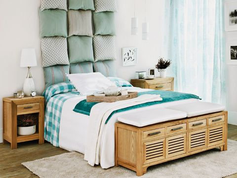 Furniture, Bedroom, Bed, Room, Bed frame, Turquoise, Interior design, Drawer, Mattress, Chest of drawers,