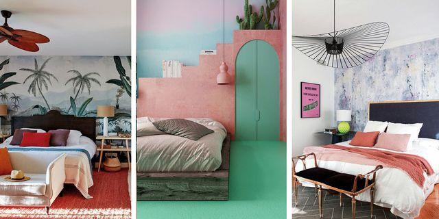 dormitorios con paredes llamativas