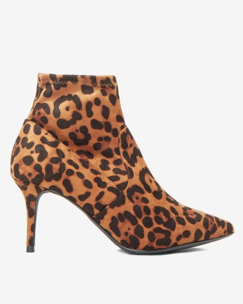 Dorothy Perkins Wide Fit Leopard 'Motion' Ankle-Boots