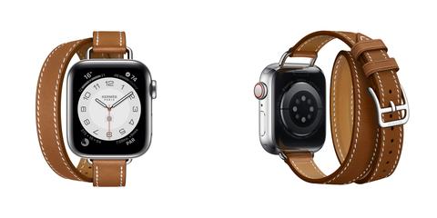 apple watch全新 hermès attelage 系列雙圈 淺黃褐色 barénia 小牛皮 錶帶