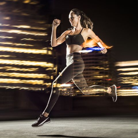 double exposure of caucasian woman running in city at night