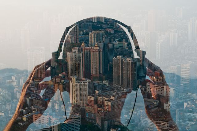 double exposure of man listening to head phones an