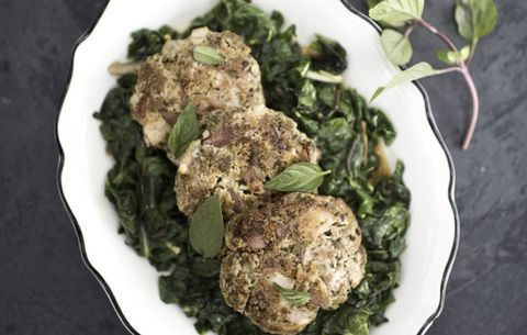 Double Pork Pesto Patties with Wilted Chard