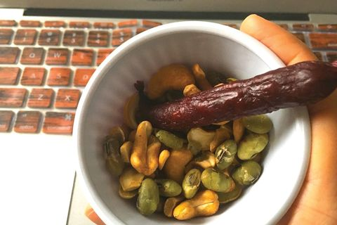 Nuts and meat stick snack