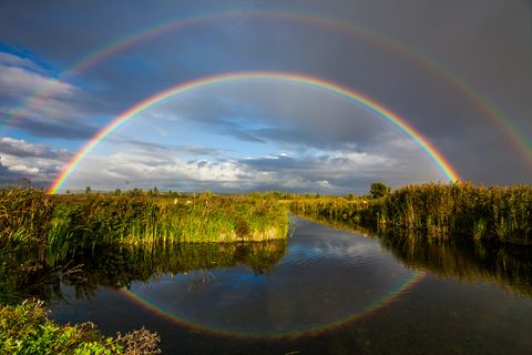 Double rainbow over the river