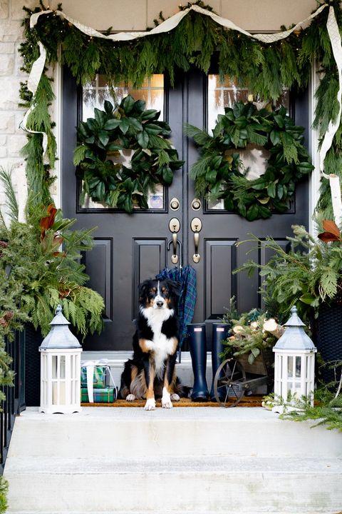 double wreath christmas door decorations
