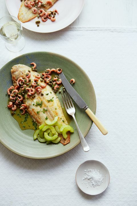 Grilled Dover sole with brown butter shrimps