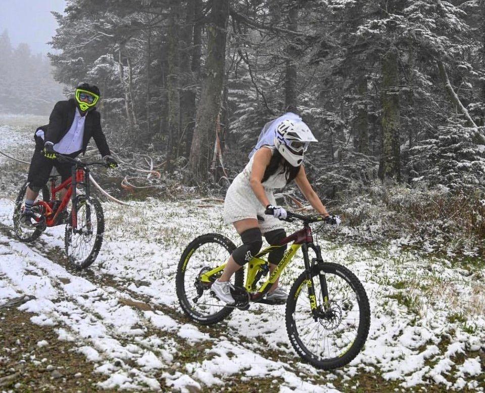 Bike Wedding Couple Mountain Bikes Downhill After Wedding