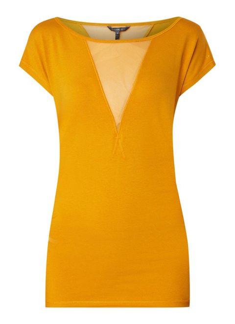 Clothing, Yellow, Orange, T-shirt, Neck, Sleeve, Day dress, Dress, Blouse, Top,