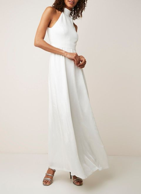 Clothing, Dress, White, Fashion model, Gown, Shoulder, Day dress, Neck, Waist, Photo shoot,