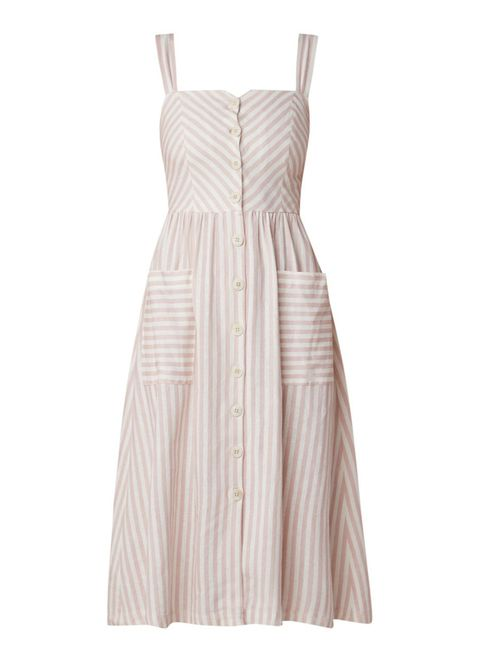 Clothing, Dress, Day dress, Cocktail dress, Pink, Beige, A-line, Strapless dress, Gown, One-piece garment,