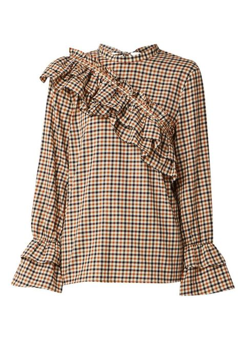 Clothing, Sleeve, Pattern, Outerwear, Plaid, Blouse, Shirt, Top, Design, Beige,
