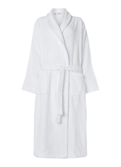 Clothing, White, Robe, Outerwear, Sleeve, Nightwear, Dress, Coat, Costume,