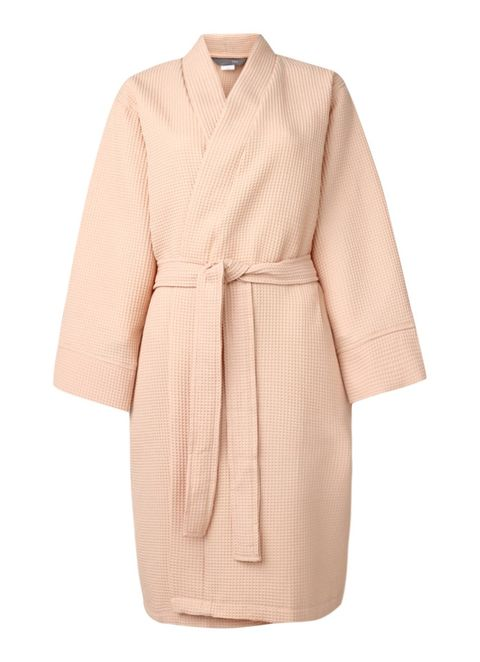 Clothing, Robe, Outerwear, Sleeve, Pink, Beige, Dress, Coat, Trench coat, Nightwear,