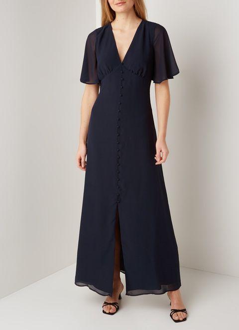 warehouse maxi jurk met vlindermouw en keyhole