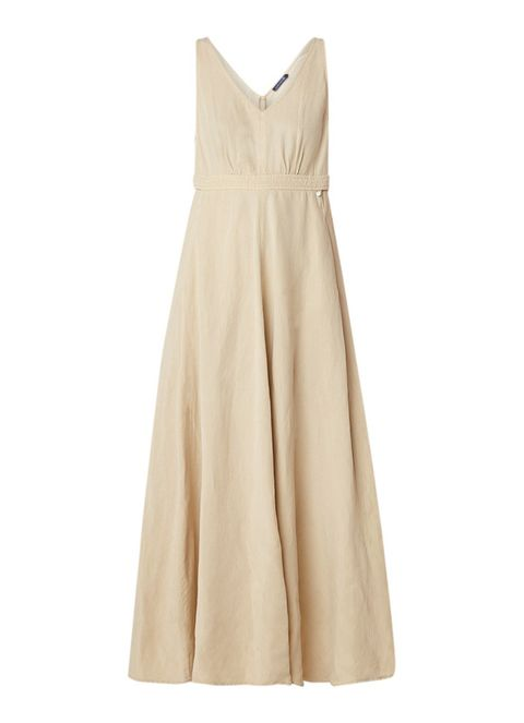Clothing, Dress, Day dress, Yellow, Beige, A-line, Cocktail dress, Gown, Neck, Formal wear,