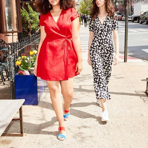 Clothing, White, Dress, Street fashion, Red, Fashion, Shoulder, Fashion model, Footwear, Pink,