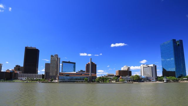 downtown toledo city skyline on the maumee river