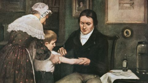 Schilderij van arts Edward Jenner die een jongen vaccineert