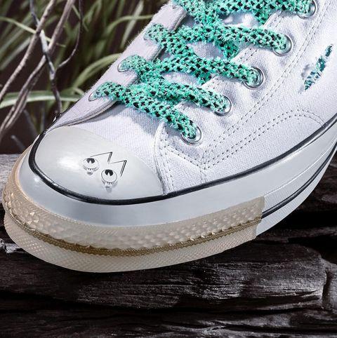 Footwear, Shoe, White, Green, Sneakers, Plimsoll shoe, Skate shoe, Athletic shoe, Walking shoe,