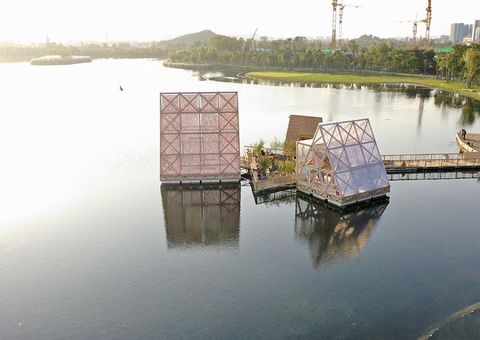 四川成都, 成都, 水上建築, 水上木屋, 漂浮學校, 漂浮建築, 漂浮木屋