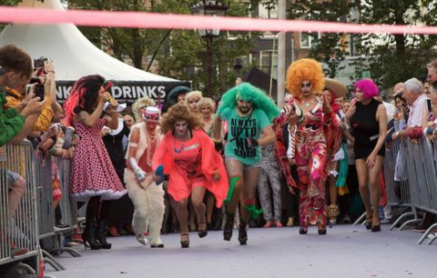 Pink, Tent, Costume, Fur, Street fashion, Public event, Wig, Block party, Party, Hair coloring,