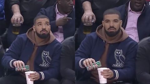 The Best Memes To Come Out Of Drake Pouring Grapefruit Perrier At An Nba Game Drake Pouring Perrier At Raptors Game