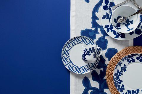 Blue and white porcelain, Blue, Porcelain, Cobalt blue, Plate, Dishware, Textile, Pattern, Tableware, Dinnerware set,