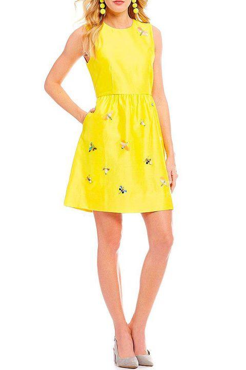 Clothing, Dress, Day dress, Yellow, Cocktail dress, Fashion model, Neck, Waist, Shoulder, Sleeve,