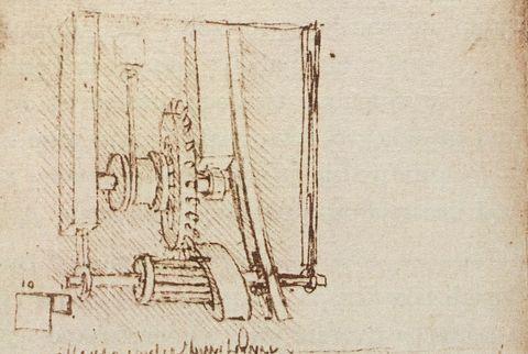 Drawing of a Gear System by Leonardo da Vinci