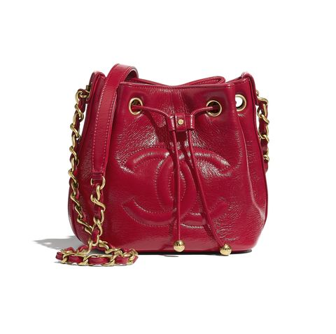 chanel 紅色金鍊抽繩包