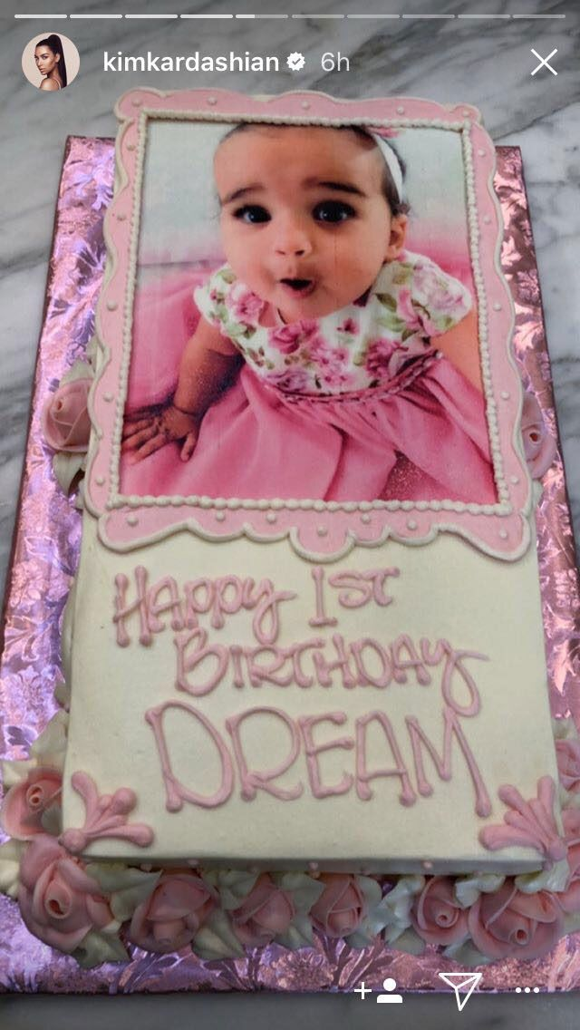 Dream's birthday cake posted by Kim Kardashian on Instagram stories
