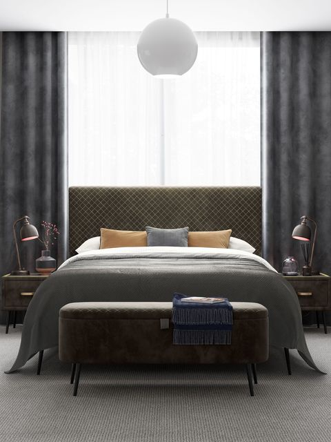 ren velvet finish upholstered bed frame, house beautiful collection at dreams