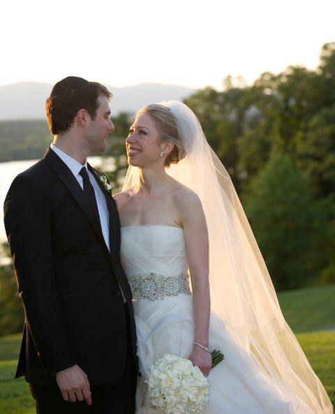 4483a5abdd12 Getty Images. #41 Chelsea Clinton. The First Daughter settled on a $20,000,  strapless Vera Wang gown ...