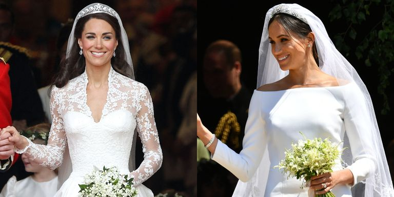 How meghan markles royal wedding dress compares to kate middletons royal wedding meghan markle duchess catherine dress junglespirit Images