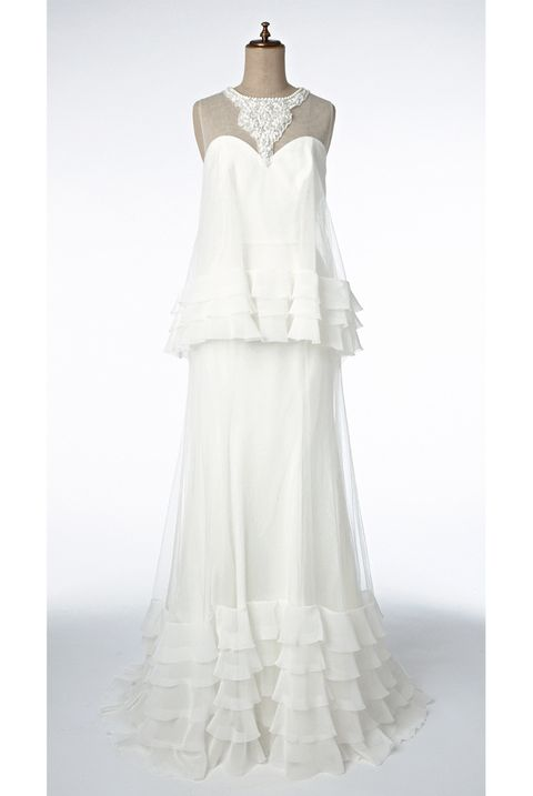 Clothing, Gown, Dress, Shoulder, A-line, Fashion, Neck, Haute couture, Ivory, Wedding dress,