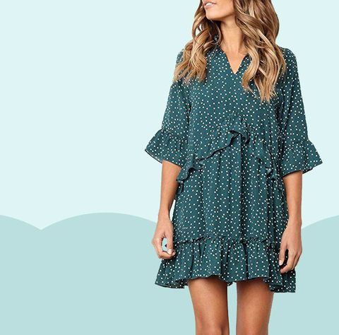 Blue, Sleeve, Shoulder, Collar, Joint, Standing, Pattern, Dress, Style, One-piece garment,