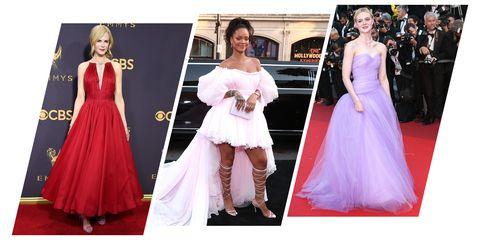 Dress, Clothing, Gown, Shoulder, Carpet, Red carpet, Fashion model, Pink, Flooring, Fashion,