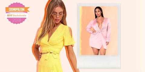 Clothing, Dress, Yellow, Pink, Orange, Neck, Sleeve, Fashion, Outerwear, Cocktail dress,