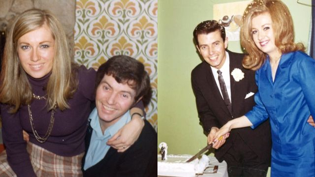 two photos of drew and jonathan scott's parents