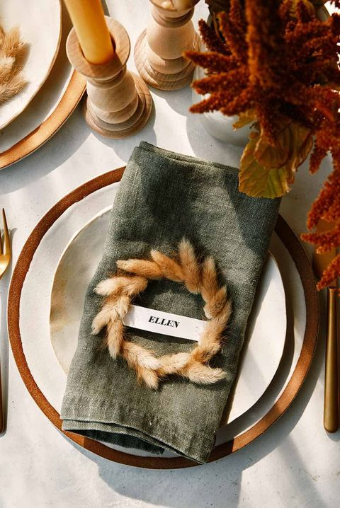 dried bunny tail grass wreaths thanksgiving place cards
