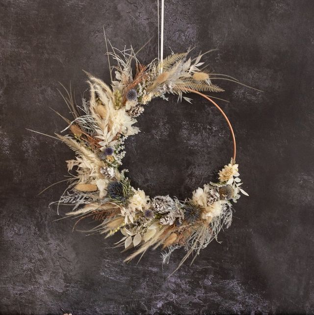 dried flower wreath, £45, etsy