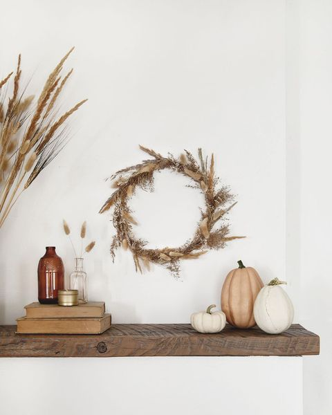 dried grass wreath fall mantel decor