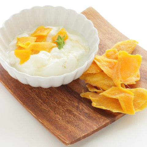Dried mango and mint on yogurt