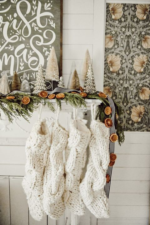 dried orange garland diy christmas mantel decor