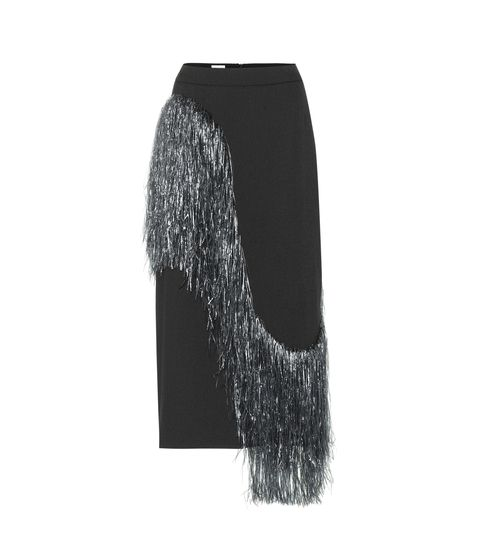 Clothing, Pencil skirt, Trousers, Black-and-white, Fashion accessory, Wool, Scarf, Silver,