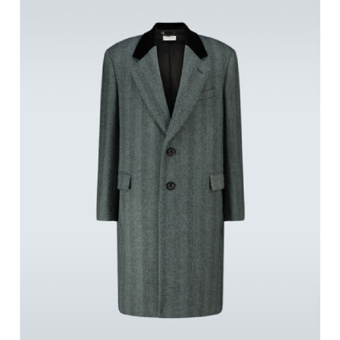 dries van noten herringbone single breasted coat